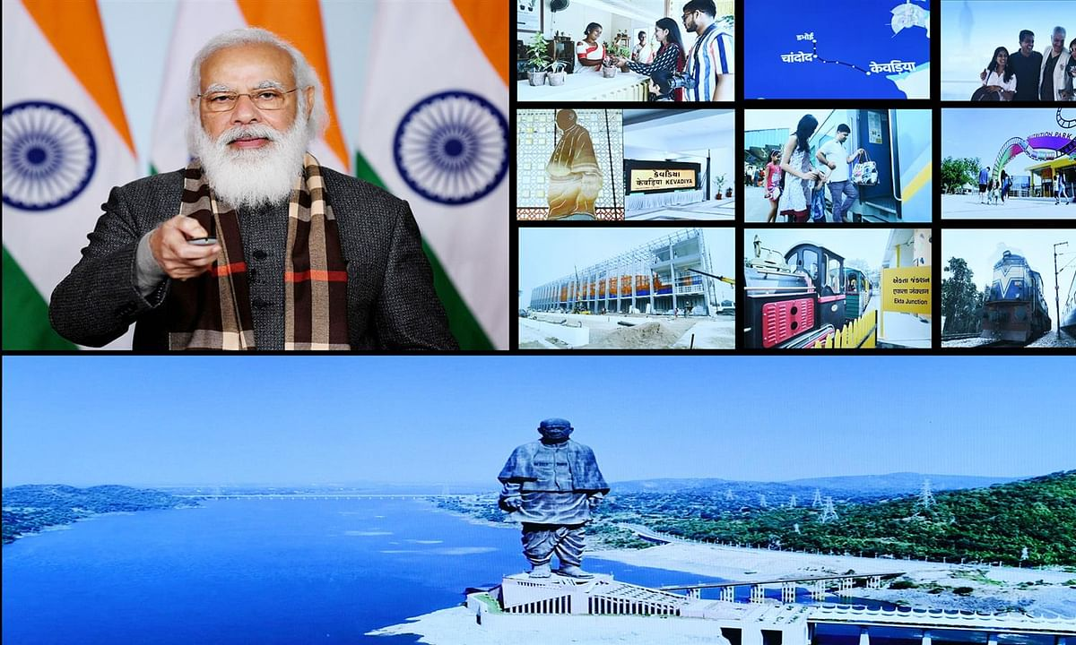 Modi flags off eight trains facilitating seamless rail connectivity to Statue of Unity