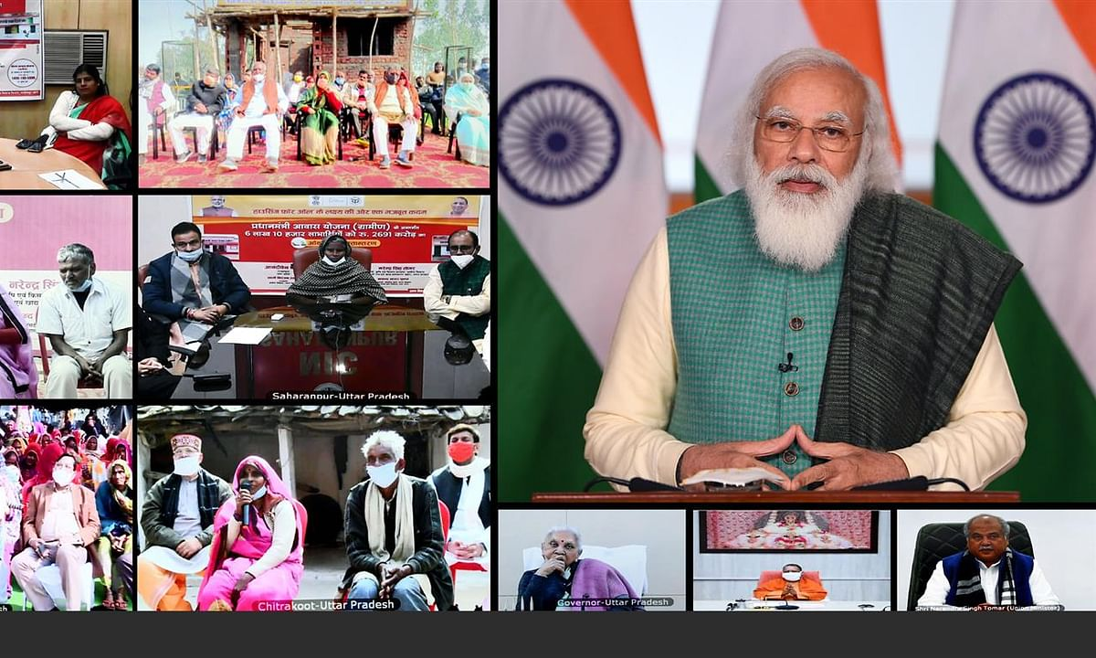 Prime Minister Narendra Modi interacting with beneficiaries of Pradhan Mantri Awaas Yojana - Gramin, through video conferencing, in New Delhi on January 21, 2021.