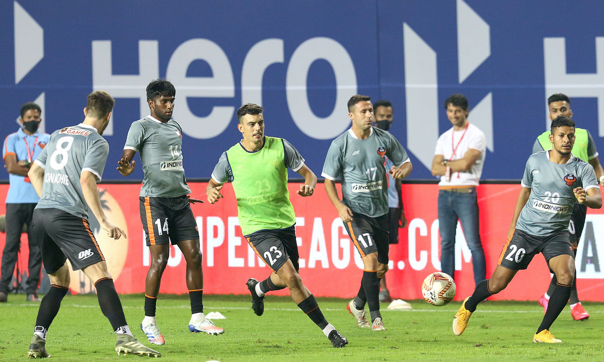 FC Goa players training before their match against East Bengal in the Hero Indian Super League (ISL), on January 6, 2021.