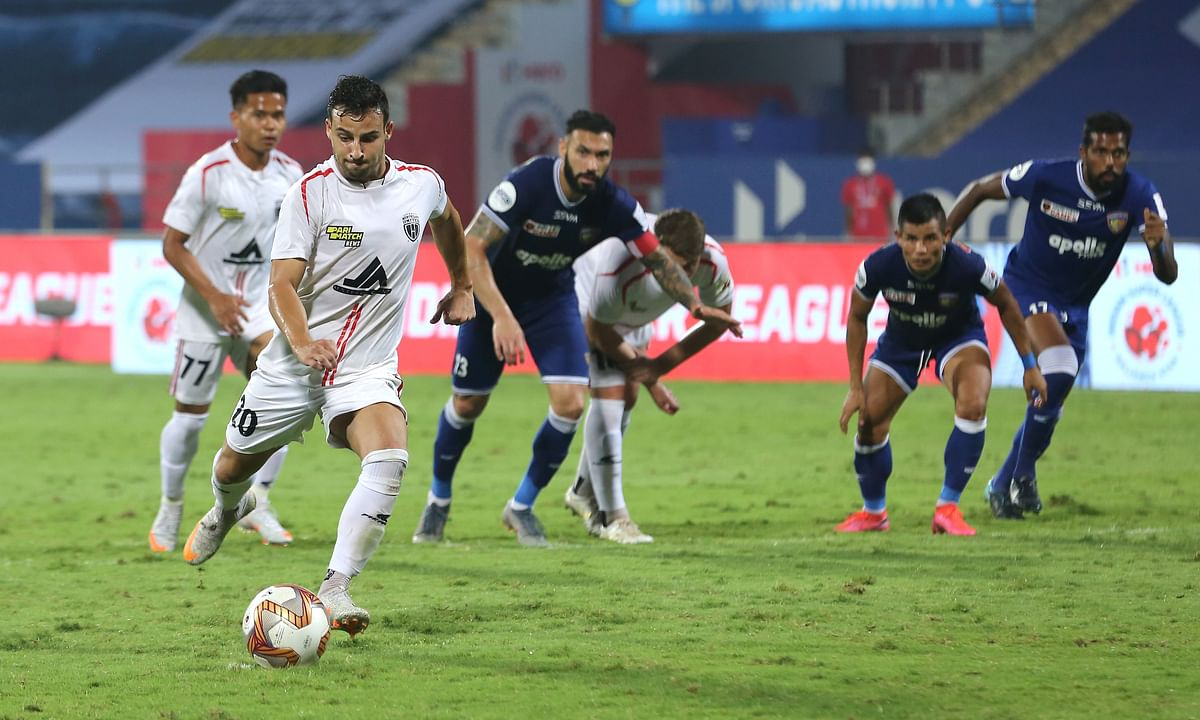 A late Luis Machado penalty earned NorthEast United FC a much-needed point against FC Chennaiyin in the Indian Super League at Bambolim, Goa on February 18, 2021.