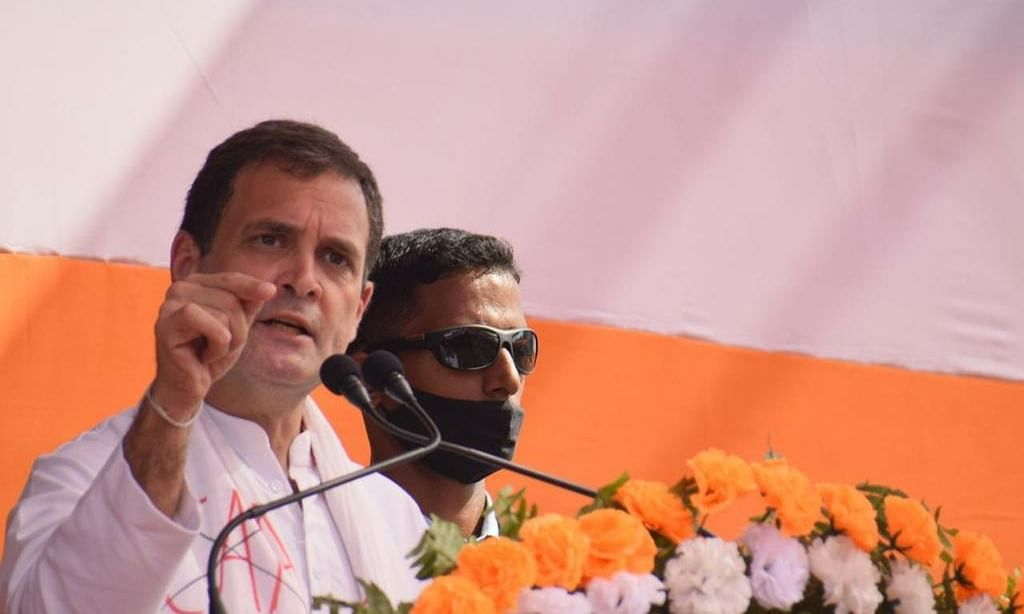 Congress leader Rahul Gandhi addressing a public meeting in Sivasagar, Assam on February 14, 2021.