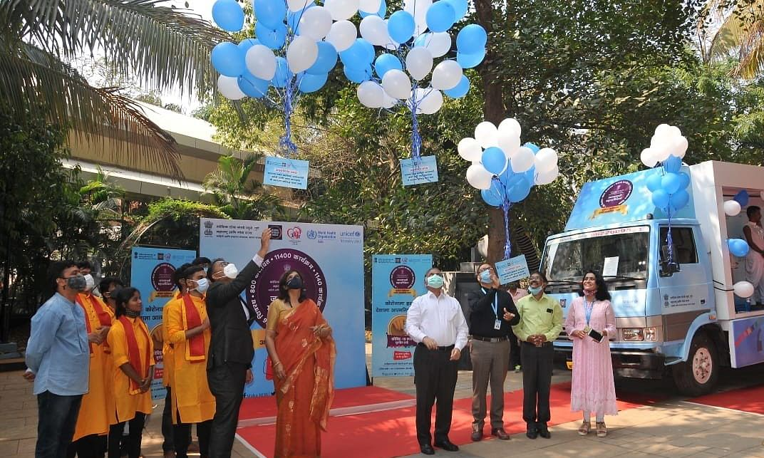 A multimedia exhibition van, to create awareness about vaccination against COVID-19, being flagged off from Mumbai on February 19, 2021.