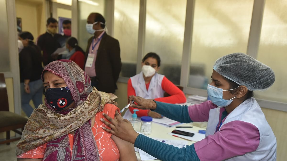A frontline worker getting COVID-19 vaccine at a hospital in New Delhi on February 20, 2021.