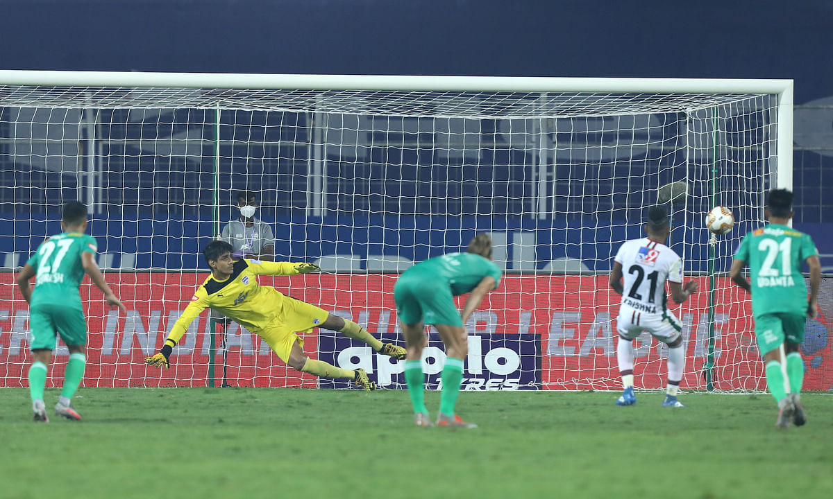 ATK Mohun Bagan's Roy Krishna sent Bengaluru goalkeeper Gurpreet Singh Sandhu the wrong way to score from the penalty spot  in their match in the Indian Super League at Fatorda, Goa on February 9, 2021.