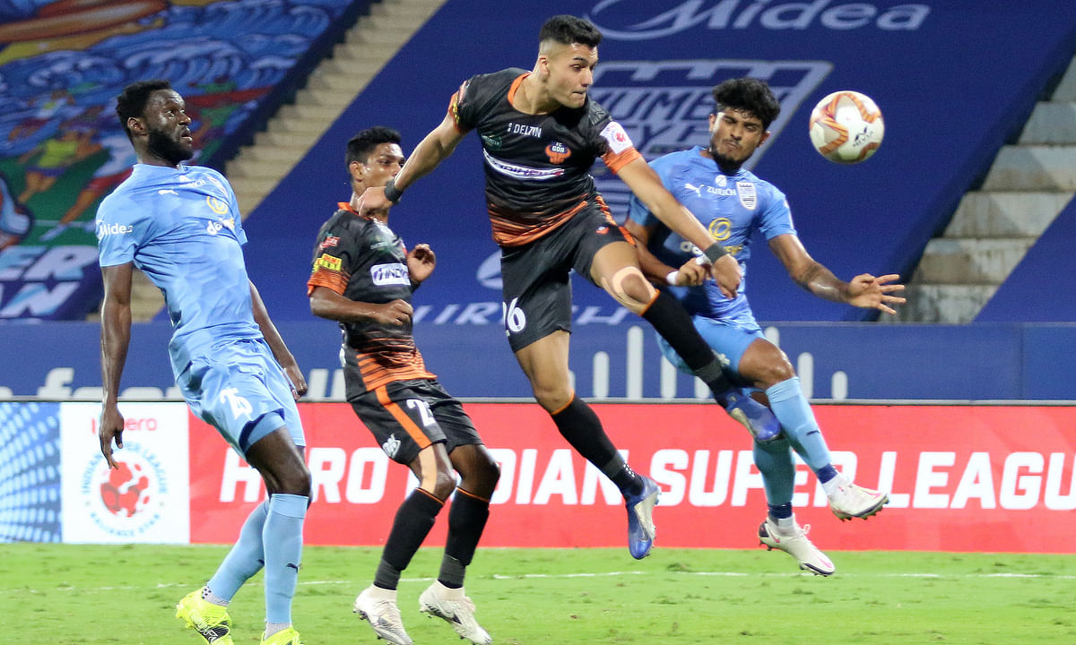 Ishan Pandita scoring late in injury time to save FC Goa the blushes in their match against Mumbai City FC in the Indian Super League, at Bambolim (Goa) on February 8, 2021.