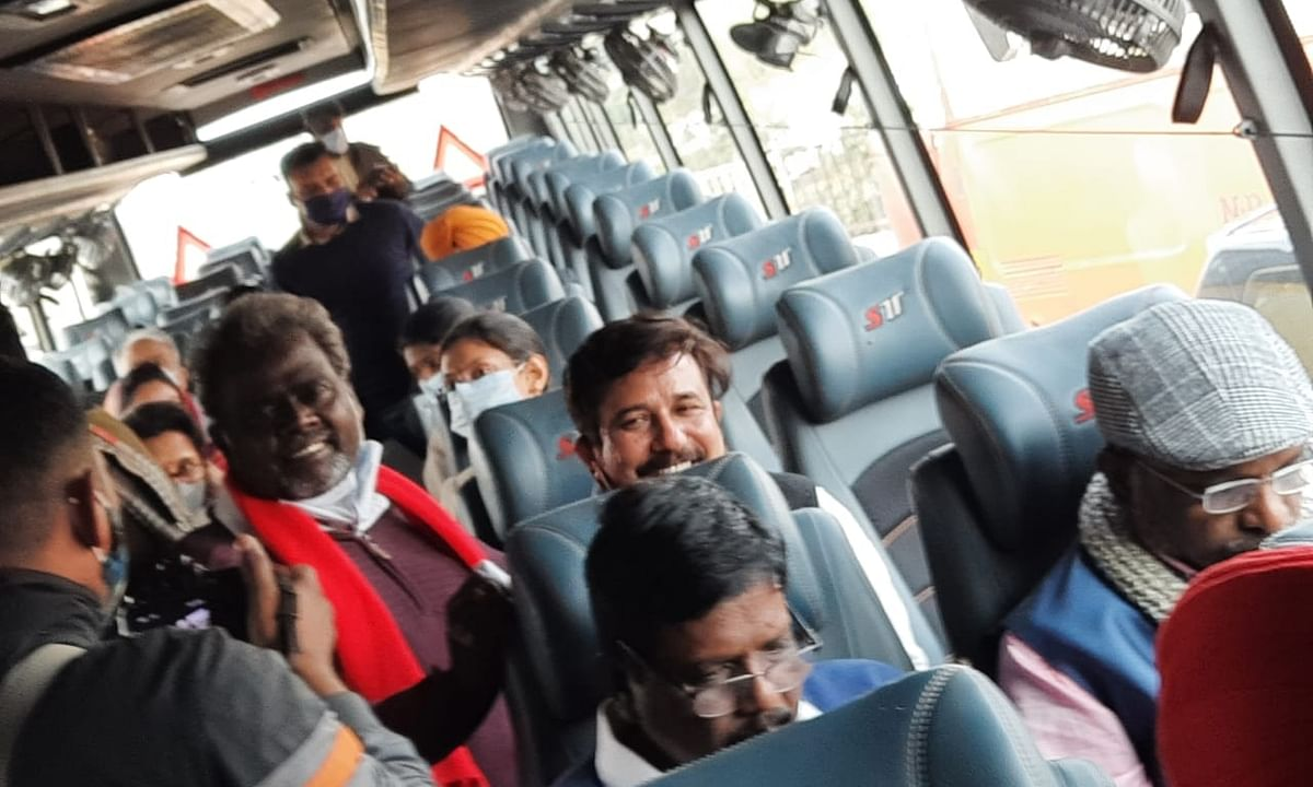 A group of Members of Parliament (MPs) who travelled to Ghazipur on the Delhi-Uttar Pradesh border to meet the agitating farmers but were stopped by the police from reaching the protest site, on February 4, 2021.