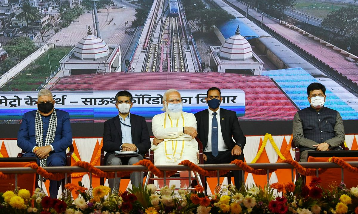 Prime Minister Narendra Modi at the inauguration of various Railway projects, in West Bengal on February 22, 2021.