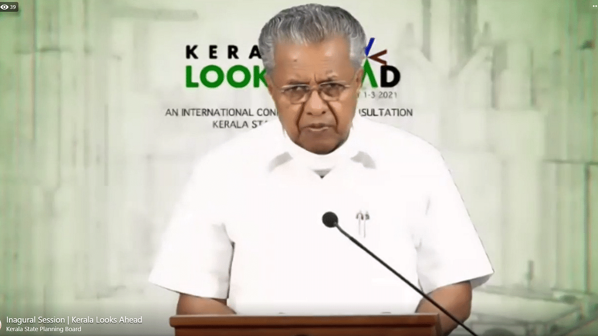 "Kerala Chief Minister Pinarayi Vijayan inaugurating the ""Kerala Looks Ahead"" Conference and Consultation in Thiruvananthapuram, on February 1, 2021."