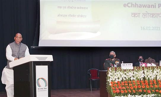 Defence Minister Rajnath Singh addressing the gathering after launching the E-Chhawani portal, in New Delhi on February 16, 2021. The Chief of Defence Staff (CDS), General Bipin Rawat, the Defence Secretary, Dr. Ajay Kumar and the Director General Defence Estates, Deepa Bajwa, are also seen.