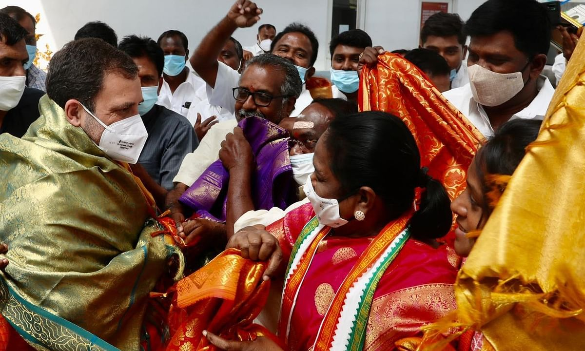 Congress leader Rahul Gandhi being greeted by party workers on his arrival in Puducherry, on February 17, 2021.