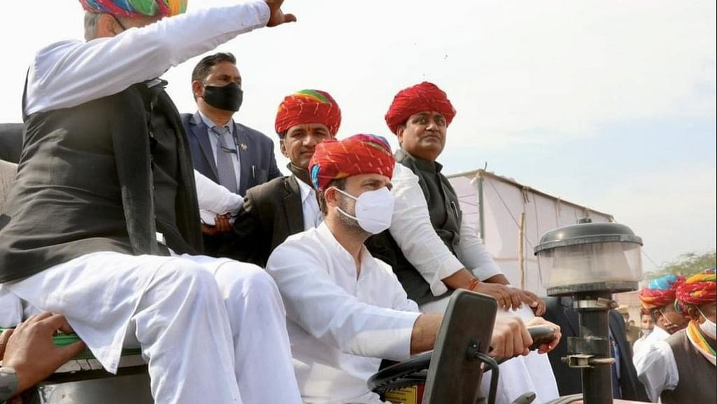 Rahul Gandhi drives tractor to rally in Rajasthan