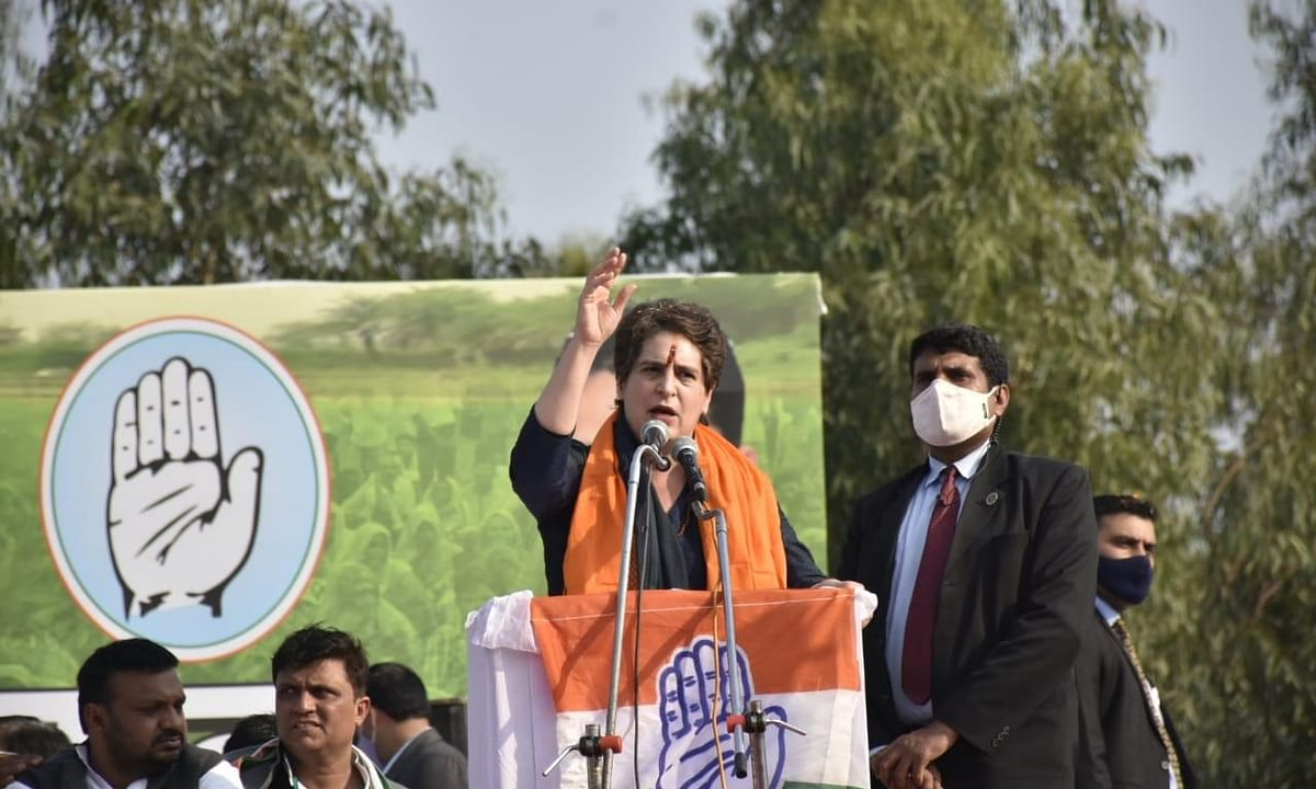 Congress General Secretary Priyanka Gandhi Vadra addressing a Kisan Panchayat at Chilkhana in Saharanpur district of Uttar Pradesh, on February 10, 2021.