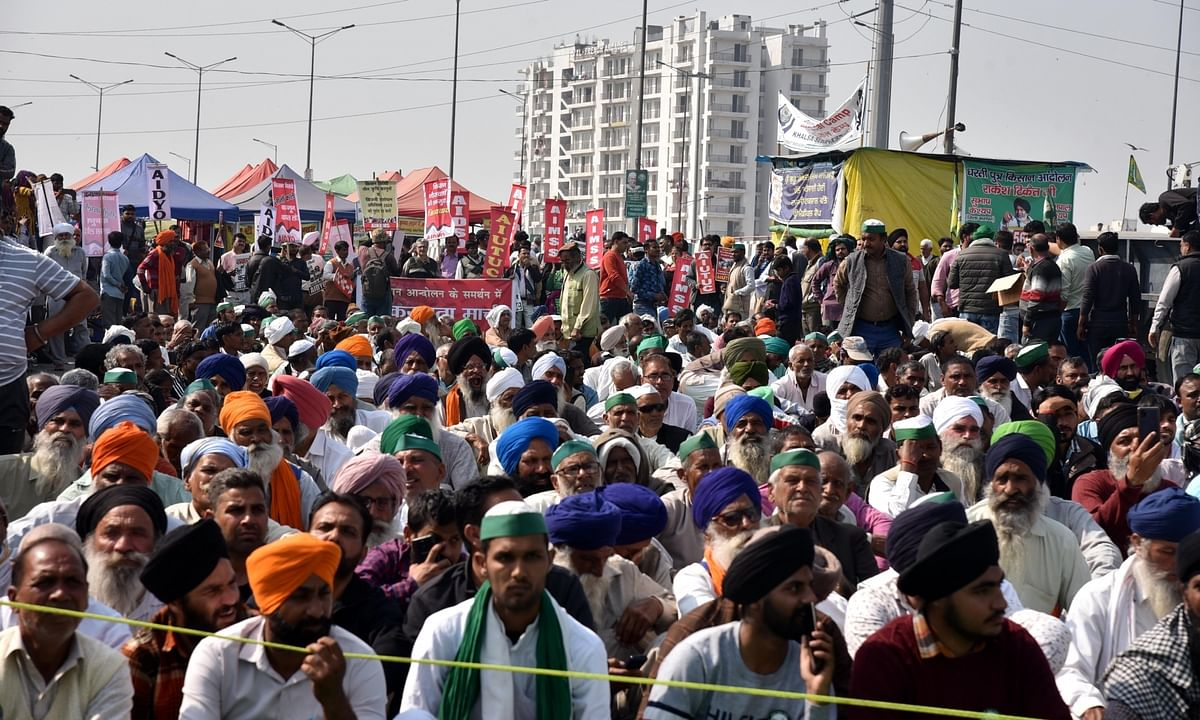 A view of the farmers' protest at Ghazipur on the Delhi-Uttar Pradesh  border, on February 10, 2021.