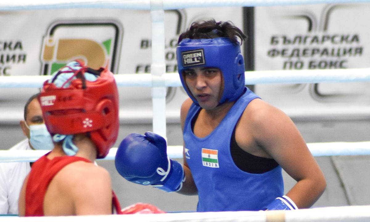 Indian boxer Jyoti Gulia (in blue) in action during her first match at the 72nd Strandja Memorial Tournament in Sofia, Bulgaria.