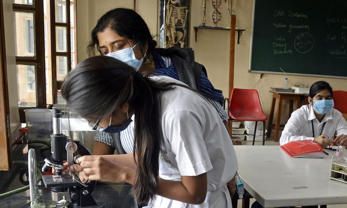 Students at a school in Kolkata, where schools reopened for classes 9-12 after remaining closed for the past several months due to the COVID-19 pandemic, on February 12, 2021.