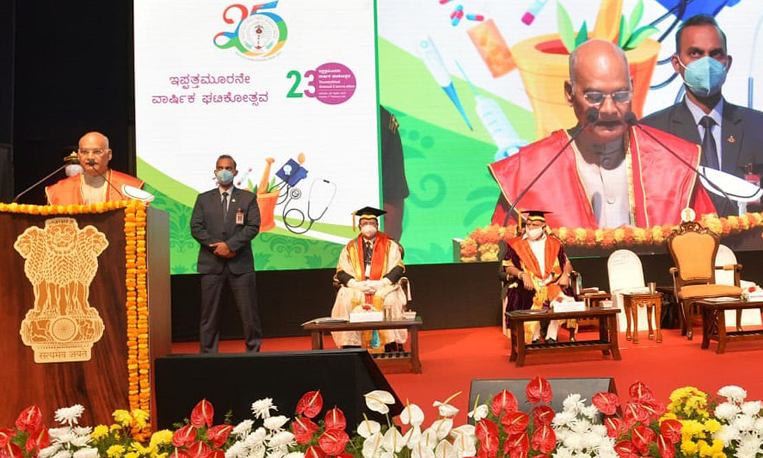 President Ram Nath Kovind addressing the 23rd Annual Convocation of the Rajiv Gandhi University of Health Sciences, Karnataka, in Bengaluru on February 7, 2021.