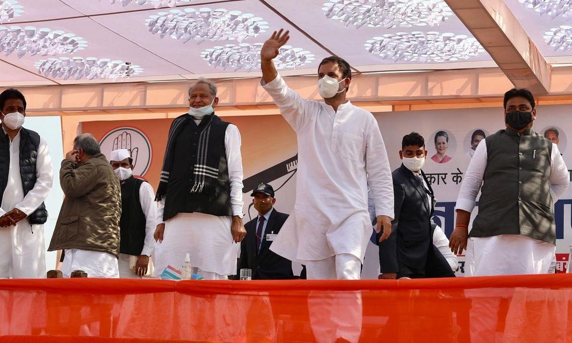 Congress leader Rahul Gandhi at a Kisan Mahapanchayat at Pilibanga in Hanumangarh district of Rajasthan, on February 12, 2021. Rajasthan Chief Minister Ashok Gehlot is also seen on his right.