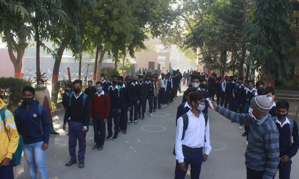 Students at a school in Gurugram, Haryana being screened for COVID-19 symptoms, on February 1, 2021