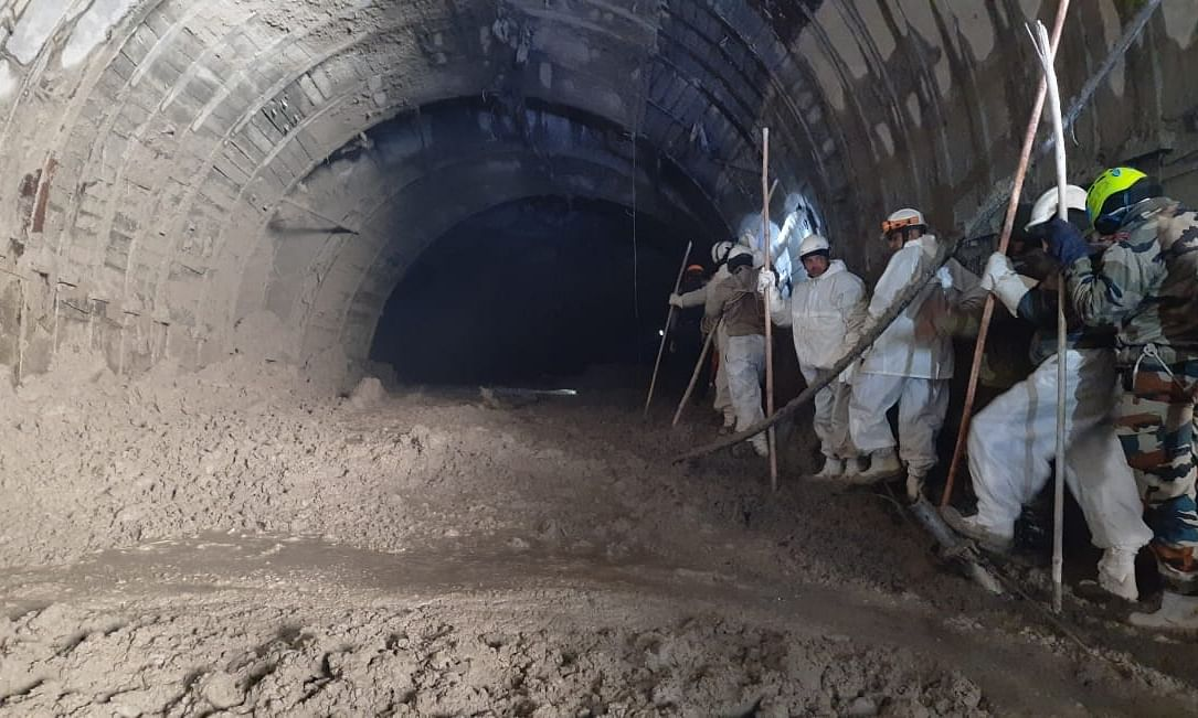 A joint team of ITBP, Army, SDRF and NDRF entering the Tapovan tunnel for a recce as part of the efforts to rescue people trapped inside, a day after a glacier burst caused a flash flood, in Uttarakhand, on February 8, 2021.