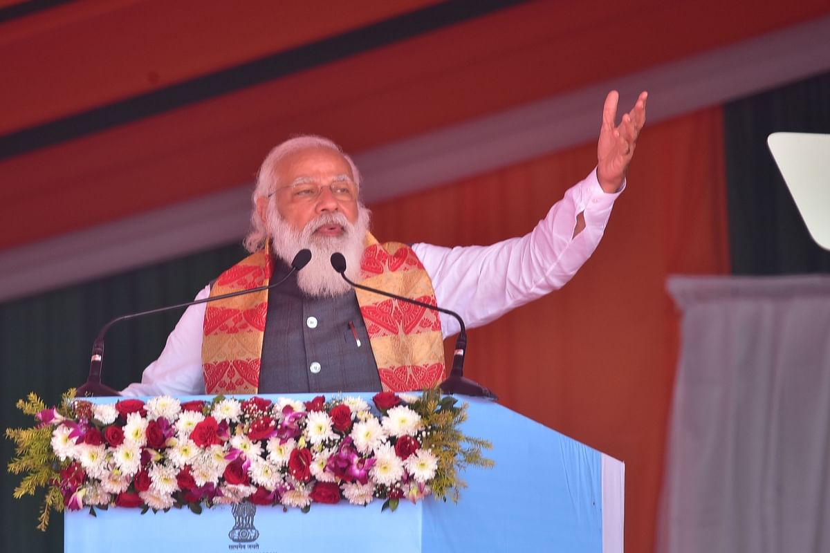 Prime Minister Narendra Modi speaking after launching the Asom Mala roads project and laying the foundation stones of two medical colleges at Biswanath and Charaideoat Dhekiajuli in Sonitpur district of Assam on February 7, 2021.