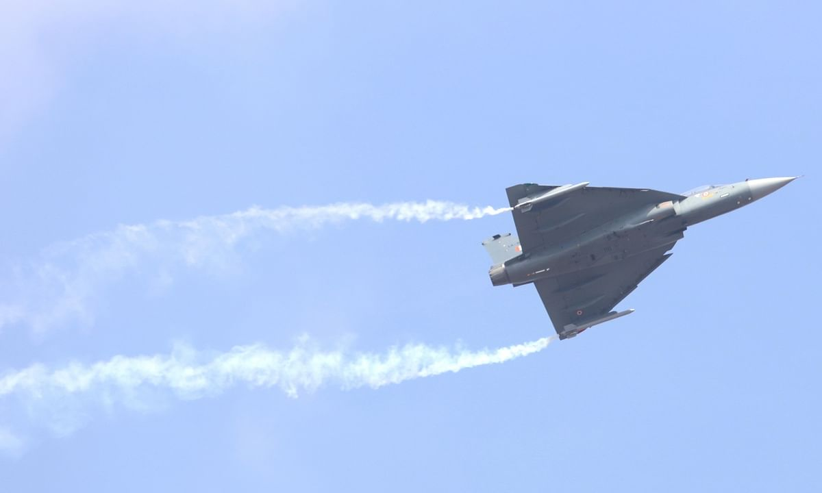 India's indigenous light combat aircraft Tejas displaying its capabilities during the opening ceremony of Aero India 2021 at the Yellahanka Air Base in Bengaluru, on February 3, 2021.