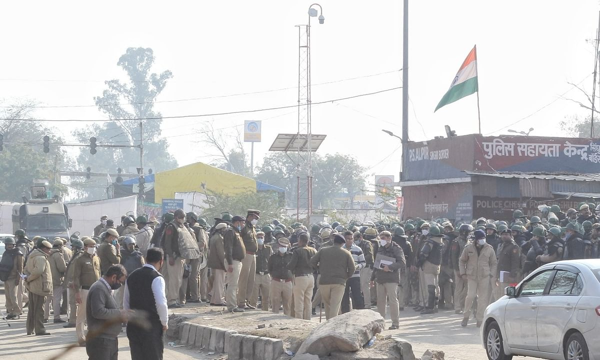 A view of the heavy police deployment at Singhu-- one of the sites of the farmers' protest -- on the Delhi-Haryana border on January 31, 2021.