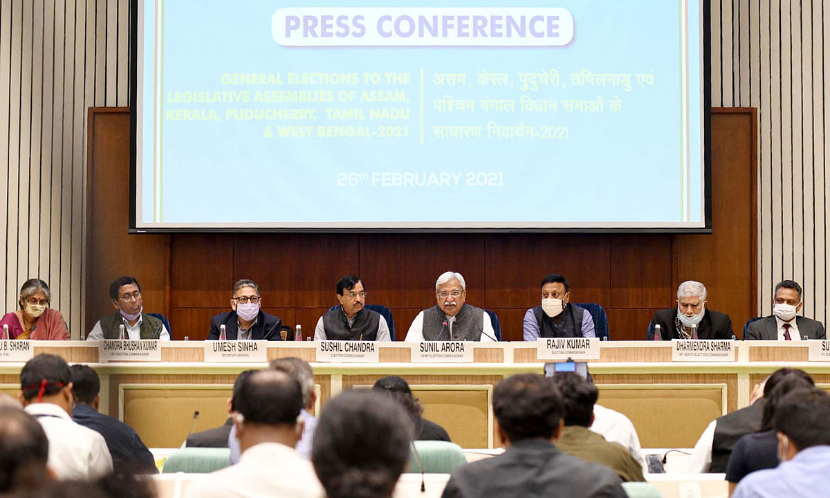 Chief Election Commissioner  Sunil Arora addressing a press conference to announce the schedule for Assam, Kerala, Tamil Nadu, West Bengal and Puducherry Legislative Assembly Elections 2021, in New Delhi on February 26, 2021.  Election Commissioners Sushil Chandra and Rajiv Kumar are also seen.