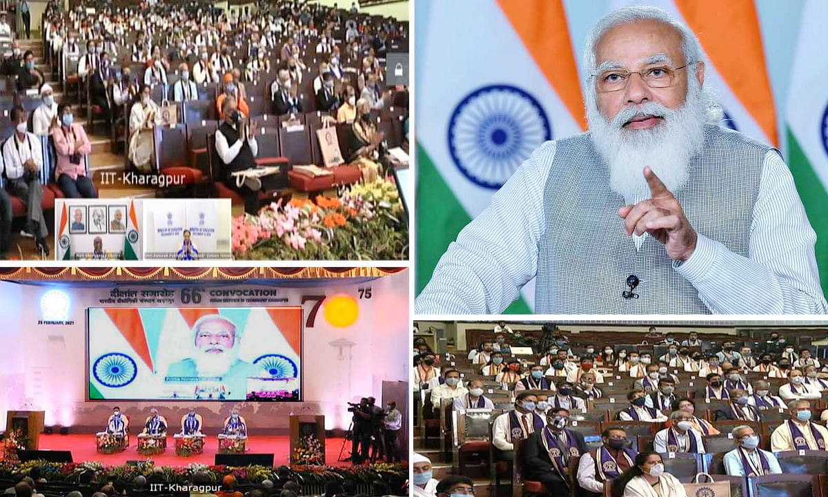 Prime Minister Narendra Modi addressing the 66th Convocation of IIT Kharagpur, through video conferencing, in New Delhi on February 23, 2021.