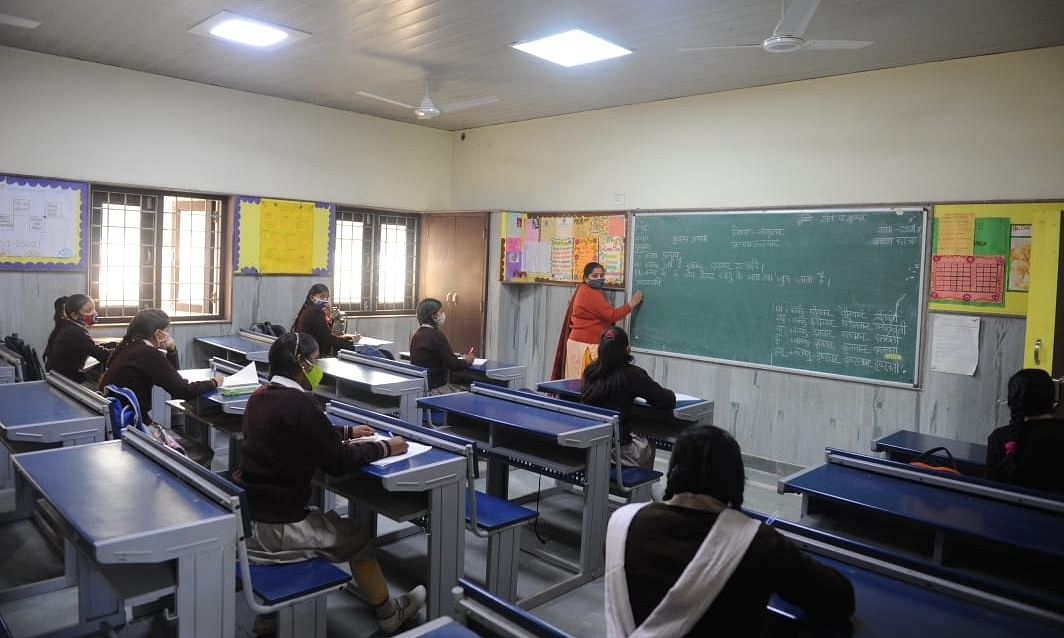 Students at the Government  Girls Senior Secondary School, Gandhinagar, Delhi, on February 5, 2021, when Delhi schools reopened for Classes 9 and 11 after the lockdown due to the COVID-19 pandemic.