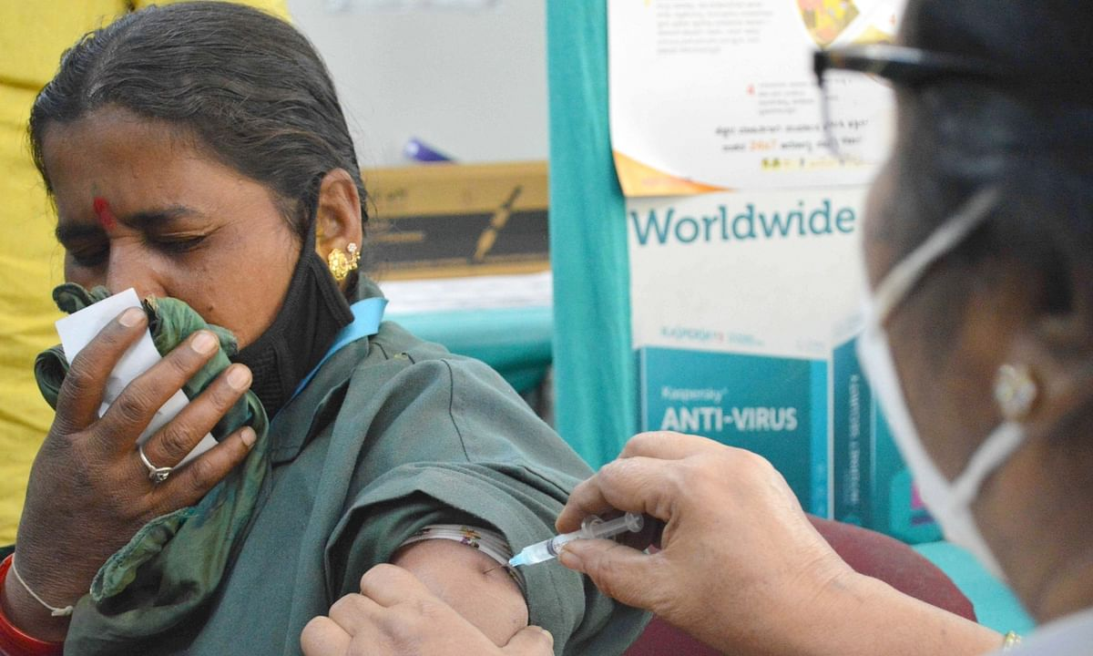 A health worker administering the COVID-19 vaccine to a person in Bengaluru on February 12, 2021.