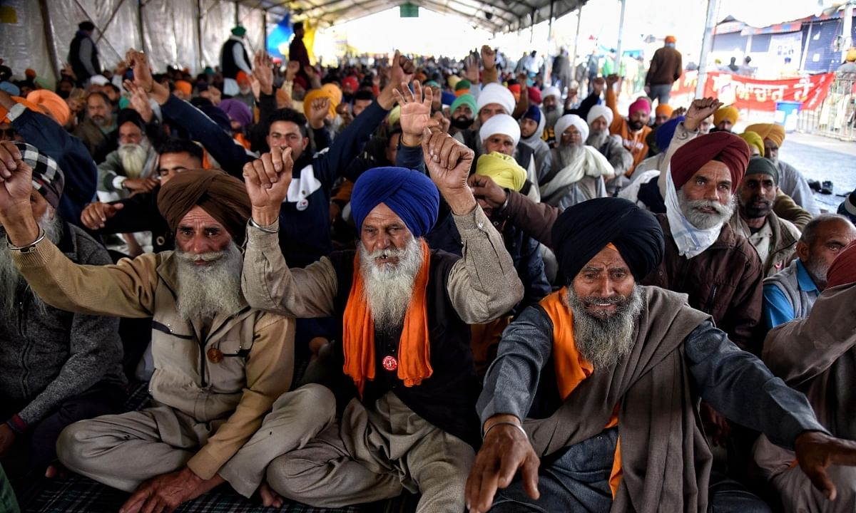 A view of the protest by farmers at Singhu, on the border with Haryana, in Delhi on February 4, 2021.