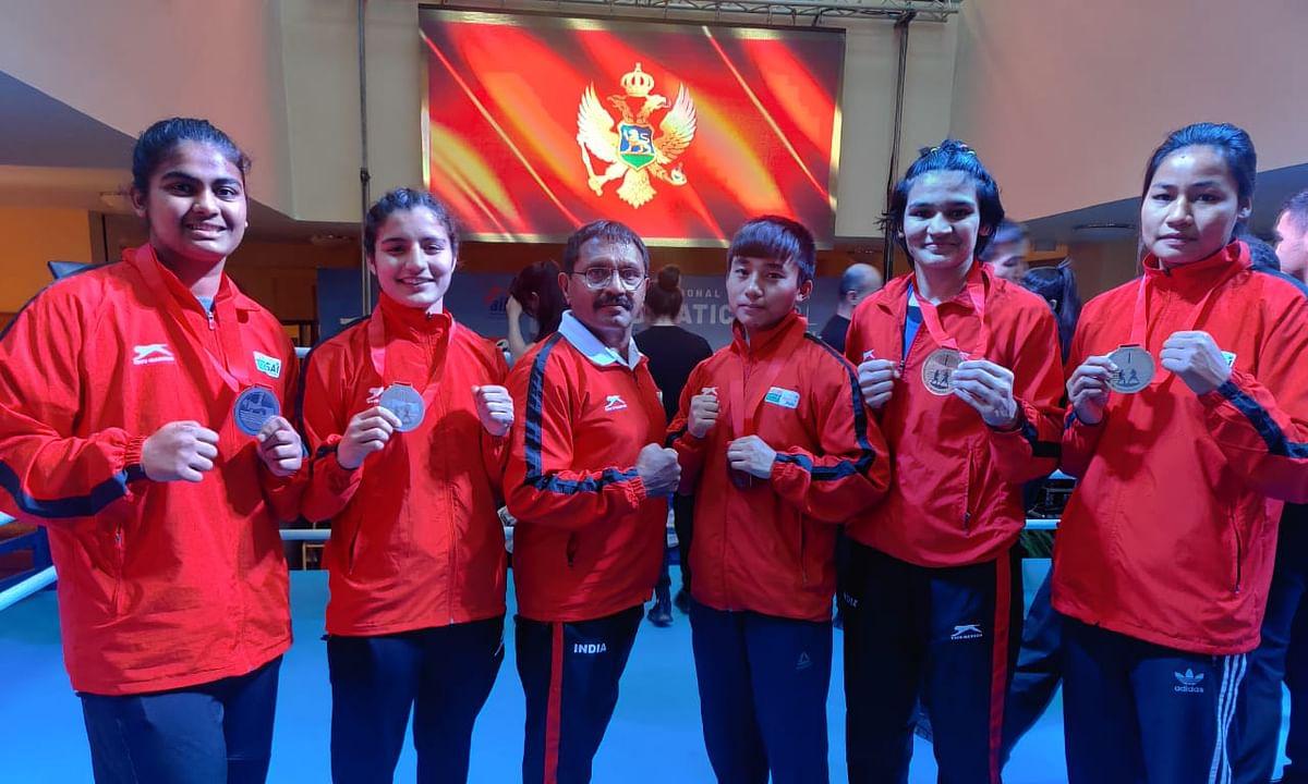 (L-R) Alfiya Pathan, Vinka, Babyrojisana Chanu, Arundhati Choudhary and T Sanamacha Chanu won five gold medals for India 30th Adriatic Pearl Tournament in Budva, Montenegro.