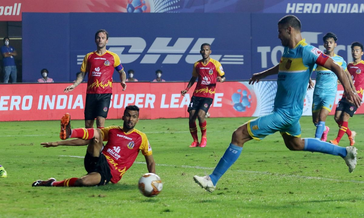 Aridane Santana's late goal salvaged a point for Hyderabad FC against SC East Bengal in the Indian Super League, at Vasco da Gama, Goa on February 12, 2021.