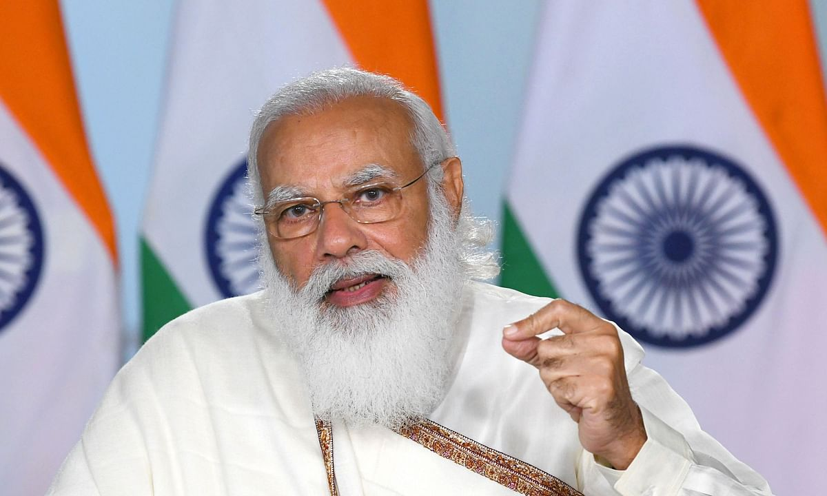 Prime Minister Narendra Modi addressing the convocation of Visva-Bharati University in West Bengal through video conferencing, in New Delhi on February 19, 2021.