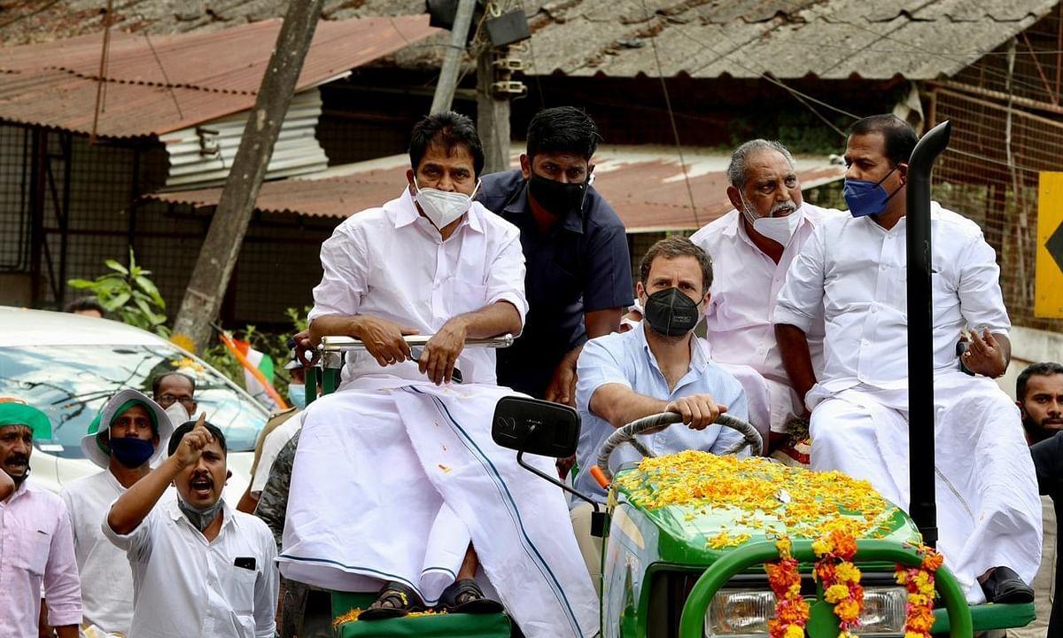 Former Congress president Rahul Gandhi leading a farmers' tractor rally in his Lok Sabha constituency of Wayanad, Kerala
