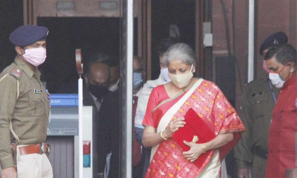 Finance Minister Nirmala Sitharaman leaving from her office in the North Block for Parliament for the presentation of the Union Budget 2021-22, in New Delhi on February 1, 2021.