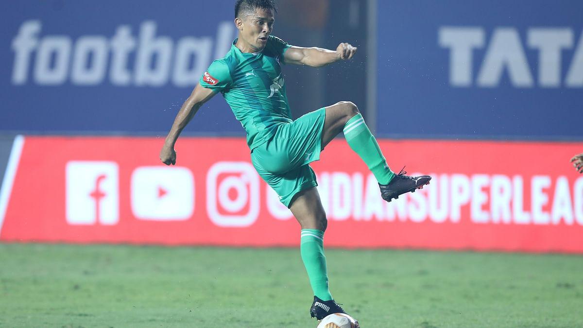 Bengaluru FC's Sunil Chhetri scored his 100th goal for the club even as it went down 2-3 to Jamshedpur FC in the Indian Super League at Vasco da Gama, Goa on February 25, 2021.