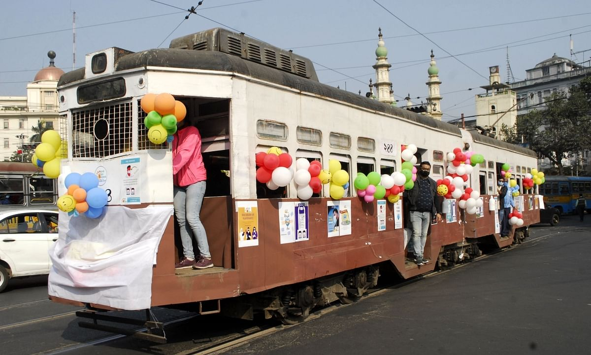 A decorated tram plying the streets of Kolkata as part of an awareness campaign about coronavirus (COVID-19), on December 31, 2020.