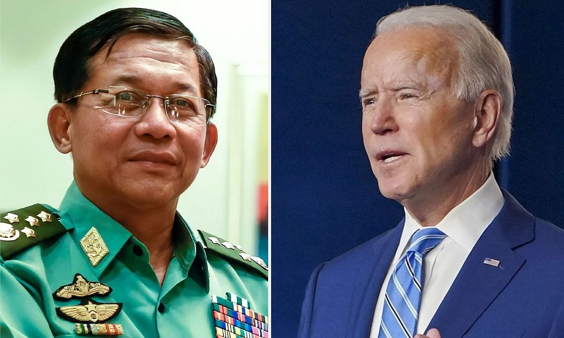 Min Aung Hlaing and Joe Biden