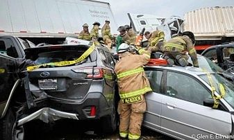 The scene at one of the multiple accident sites in Texas, United States, involving pile-ups of vehicles in hazardous weather conditions, on February 11, 2021.