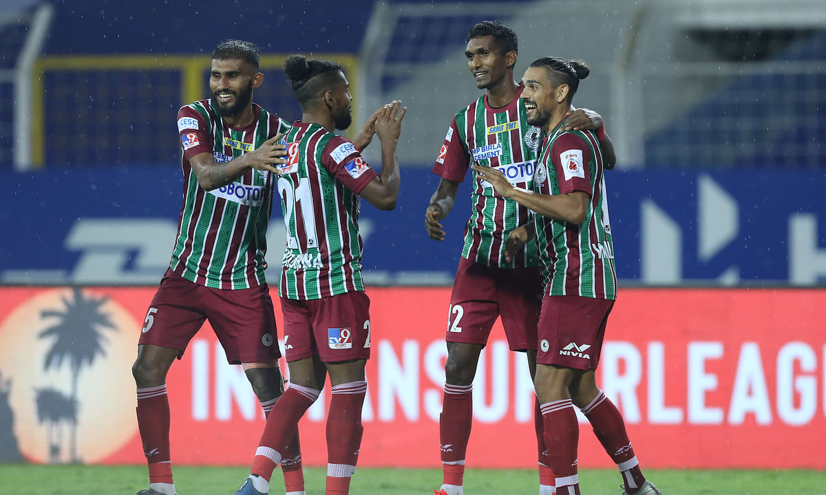 ATK Mohun Bagan players celebrating after their double over SC East Bengal, in the Indian Super League, at Fatorda, Goa on February 19, 2021