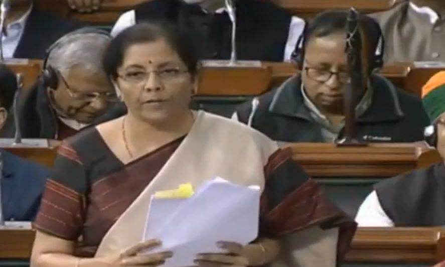 File photo of Union Finance Minister Nirmala Sitharaman speaking in the Lok Sabha during a discussion on the Union Budget 2020 on February 11, 2021.