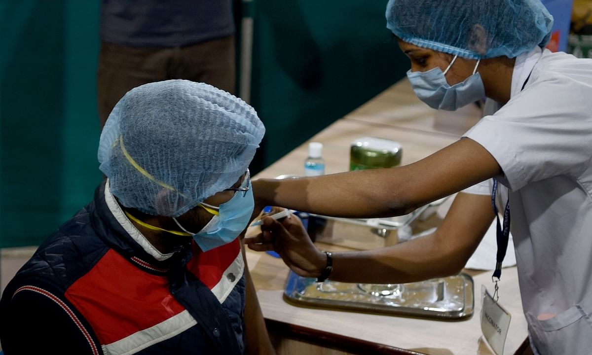A person being administered the COVID-19 vaccine at the Government Hospital in Kolkata on February 3, 2021.