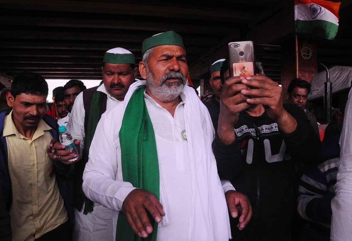 Bharatiya Kisan Union leader Rakesh Tikait at Ghazipur near Delhi, one of the sites of the farmers' protest, on February 6, 2021.