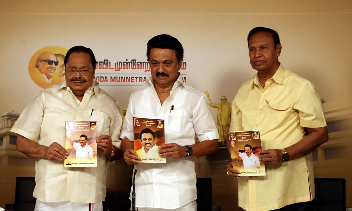 DMK President M K Stalin (centre) releasing the party's election manifesto, ahead of the Assembly polls, in Chennai on March 13, 2021.