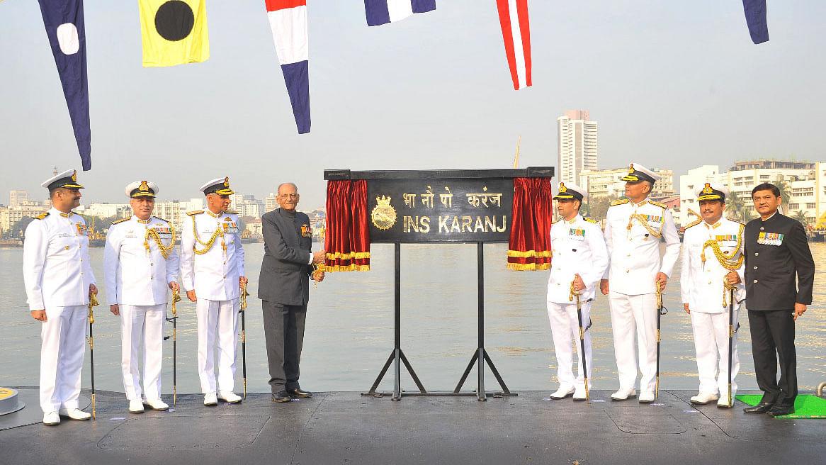 INS Karanj, India's third Kalvari class submarine, commissioned at Naval Dockyard, Mumbai