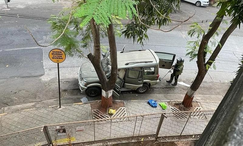 An SUV was found parked with suspected explosives outside Antilia, the home of industrialist Mukesh Ambani, in South Mumbai, on February 25, 2021.