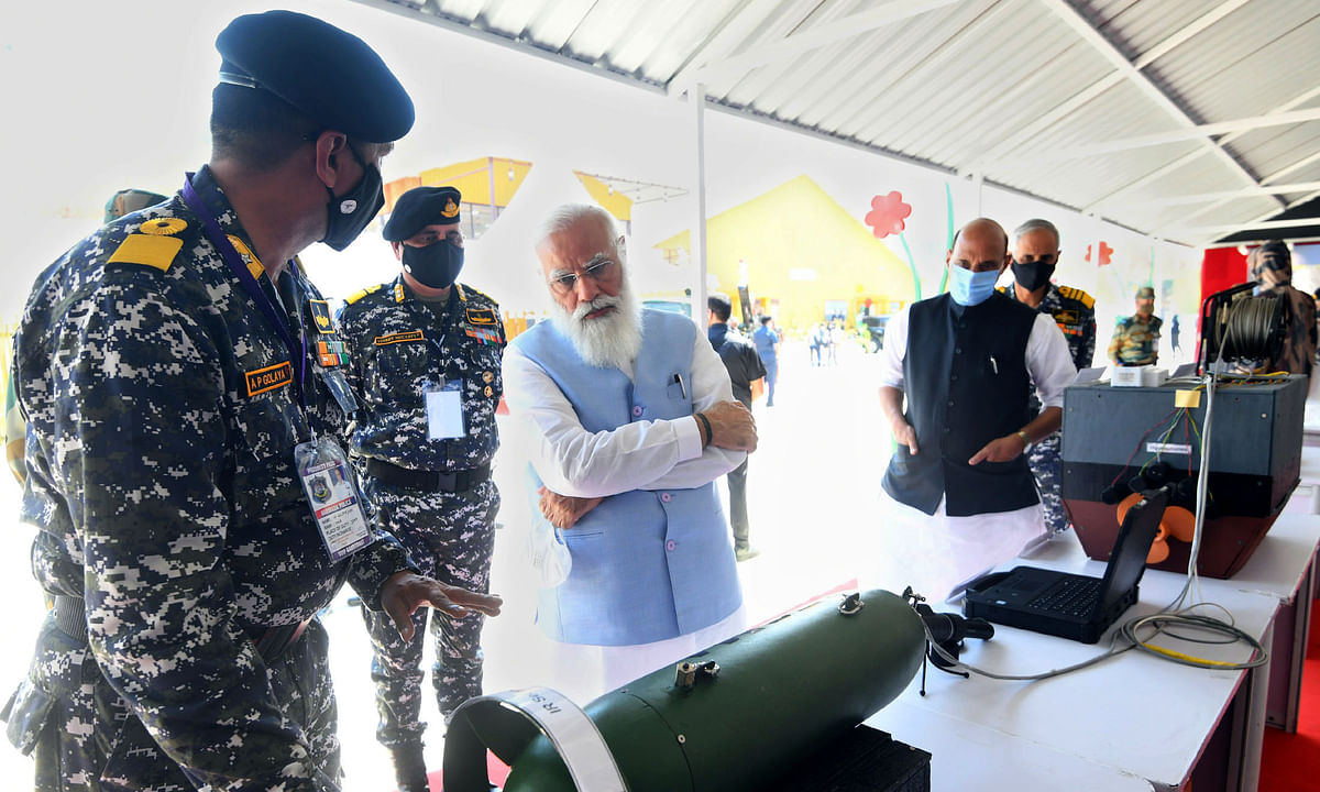 Prime Minister Narendra Modi inspecting some of the innovations by the Armed Forces, showcased in an exhibition, at the Combined Commanders' Conference, in Kevadia, Gujarat on March 6, 2021.