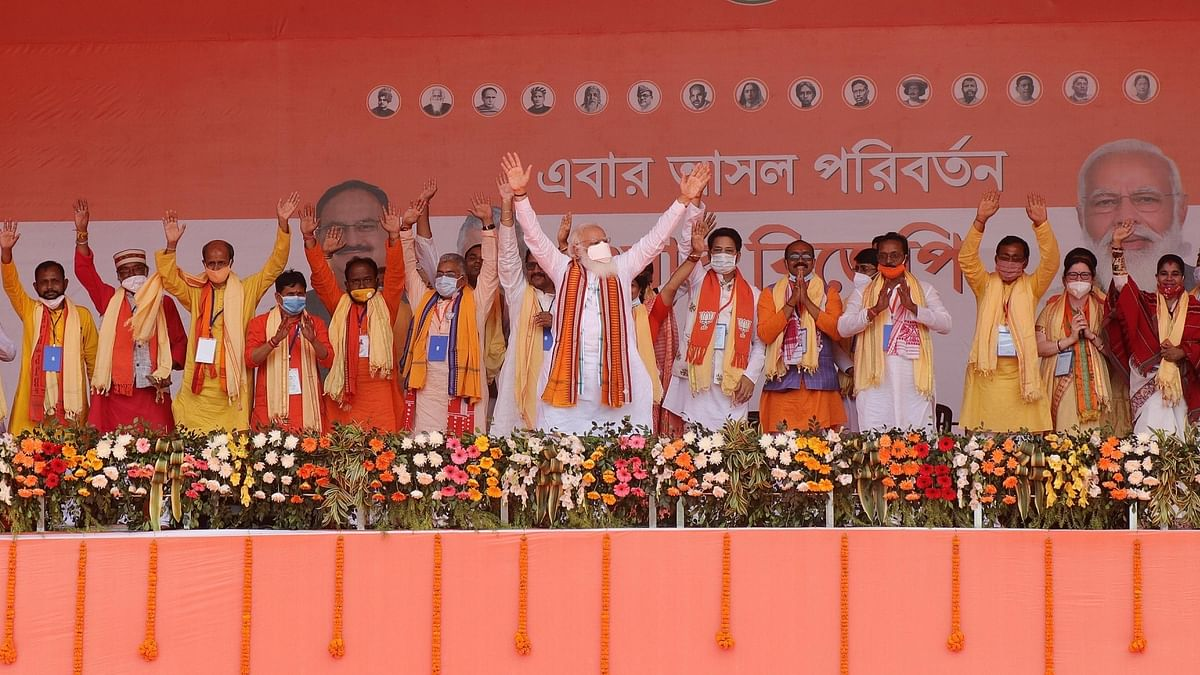 Prime Minister Narendra Modi at a public meeting at Kharagpur in West Bengal, on March 20, 2021.