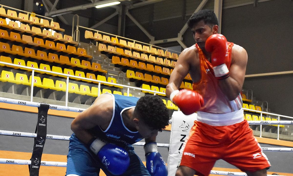 Manish Kaushik (red) in action against Spain's Redouan Ammari Abdellaoui, whom he beat 5-0 to reach the quarter-finals of the Boxam International Tournament, at Castellon in Spain on March 2, 2021.